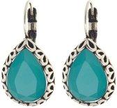 Biba oorbellen druppel turquoise met bewerkte rand