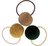 Setje van 3 grote elastiekjes met pompom forest | Groen, Geel, Bruin | Baby, Meisje