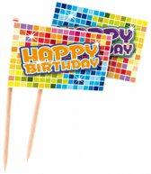 Cocktailprikkers Happy Birthday 24 stuks
