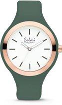 Colori Macaron 5 COL504 Horloge - Siliconen Band - Ø 44 mm - Donker Groen