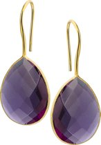 The Jewelry Collection Oorhangers Franse Haak Synth. Amethyst - Zilver verguld