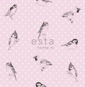 behang vogels zacht roze - 115747 ESTAhome.nl