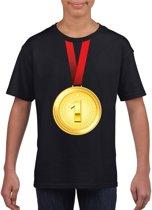 Gouden medaille kampioen shirt zwart jongens en meisjes - Winnaar shirt Nr 1 kinderen L (146-152)