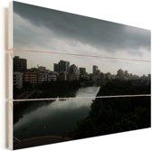 Prachtige horizon in de stad Dhaka Vurenhout met planken 90x60 cm - Foto print op Hout (Wanddecoratie)
