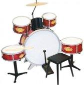 Bontempi Drumstel Rockdrummer Rood 9-delig