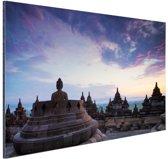 Borobudur bij zonsopkomst Aluminium 90x60 cm - Foto print op Aluminium (metaal wanddecoratie)