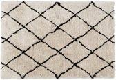 Vloerkleed - Diamonds - beige (offwhite) / zwart - 160 x 230 - berber - beni quarain - hoogpolig - rechthoekig