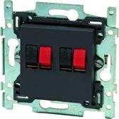 NIKO Intense Antracite inbouw luidspreker stopcontact - dubbel