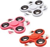 relaxdays 3 x Fidget Spinner - tri-spinner 58 g - hand spinner - antistress rood wit roze