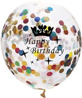 Set van 5 Confetti Ballonnen Happy Birthday Metallic Multicolor| Ballon 30 cm