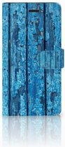 Samsung Galaxy A7 2017 Uniek Boekhoesje Wood Blue