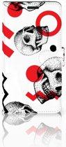 Sony Xperia T3 Bookcase Design Skull Red