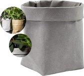 QUVIO Plantenzak uitwasbaar / Bloempot duurzaam / Plantenbak / Kraftpapier / Waterdicht / Milieuvriendelijk / 9x9x15cm - Grijs