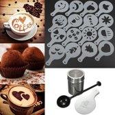 RVS Cappuccino / Cacao Strooier Set - Met Koffie / Cacao Sjablonen & Barista Tools Lepel