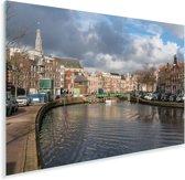De grachten in de Nederlandse stad Haarlem Plexiglas 60x40 cm - Foto print op Glas (Plexiglas wanddecoratie)