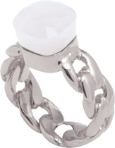 TOV Essentials Braided chain stone - Ring - Wit goudkleurig - Crystal