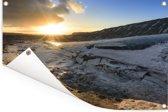 Zonlicht over het besneeuwde schiereiland Snaefellsnes in IJsland Tuinposter 90x60 cm - Tuindoek / Buitencanvas / Schilderijen voor buiten (tuin decoratie)