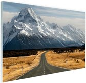 De weg naar Mount Cook Glas 120x80 cm - Foto print op Glas (Plexiglas wanddecoratie)