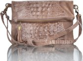 Clutch Croco Leather Camel