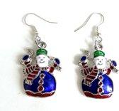 2 Love it - Sneeuwpop - Kerstoorbellen - Oorbellen - Kerst - Blauw - Groen - Rood - Wit