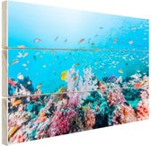 Kleurrijk rif en koraal Hout 160x120 cm - Foto print op Hout (Wanddecoratie) XXL / Groot formaat!