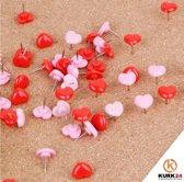 Kurk24 Hartjes puhspins - roze en rood - 50 stuks