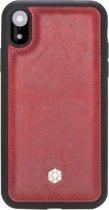Bomonti - Clevercase Apple iPhone XR hoesje rood Milan - Handmade lederen back cover - Geschikt voor draadloos opladen