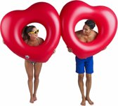 2 Harten Pool Float - Pool Float Two of Hearts - Big Mouth grote opblaas zwemband – 180 cm.