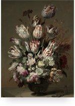 Houten paneel, golden age flowers, KEK Amsterdam, medium
