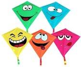Stunt vlieger smile emoticon - geel - 65 cm - voor kinderen