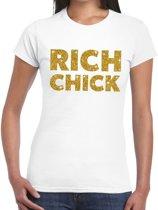 Rich chick goud glitter tekst t-shirt wit dames XL