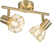 QAZQA mosh sl - Plafond spot - 2 lichts - H 185 mm - Goud/messing