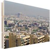 Gebouwen in de Irakese metropool Bagdad Vurenhout met planken 30x20 cm - klein - Foto print op Hout (Wanddecoratie)