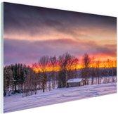 Schemering Laagland in Zweden Glas 120x80 cm - Foto print op Glas (Plexiglas wanddecoratie)