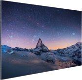 Winterlandschap bij nacht Aluminium 90x60 cm - Foto print op Aluminium (metaal wanddecoratie)