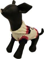 Gebreide trui met roze patroon voor de hond - XL ( rug lengte 36 cm, borst omvang 40 cm, nek omvang 26 cm )