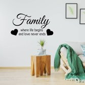 Muursticker Family Where Life Begins And Love Never Ends -  Goud -  160 x 80 cm  - Muursticker4Sale