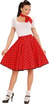Rock & Roll Kostuum | Red Doll 50s Rock And Roll Rok Met Nekband, Rood | Vrouw | Medium / Large | Carnaval kostuum | Verkleedkleding