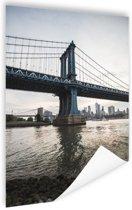NewYork Manhattan Bridge zonsondergang Poster 40x60 cm - Foto print op Poster (wanddecoratie woonkamer / slaapkamer) / Amerikaanse steden Poster