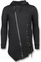 Enos Casual Vest - Long Fit Braided Vest - Zwart - Maten: L