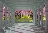 Fotobehang Cherry Trees through The Arches   L - 152.5cm x 104cm   130g/m2 Vlies