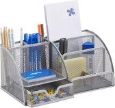 relaxdays pennenbak 6 vakken - bureau organizer - gaas - metaal - bureaustandaard - Mesh zilver