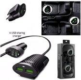 Ldnio Road / achterbank dubbele autolader met 4 USB poorten Met Type C kabel OplaadKabel - geschikt voor o.a Nokia 6 6.1 7 7.1 Plus 8 9