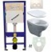 Toiletset Hangend 100-1 Geberit UP100 Inbouwreservoir Glans Wit Wandcloset Softclose Toiletbril Delta-21 Bedieningsplaat Wit