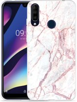 Wiko View 3 Hoesje White Pink Marble