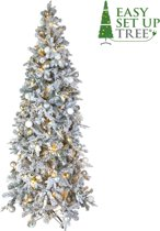 Kerstboom met versiering Easy Set Up Tree® LED Avik Decorated Frosted Shiny Mint 180 cm - Luxe uitvoering - 240 Lampjes