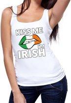 Kiss me I am Irish tanktop / mouwloos shirt wit dames - feest shirts dames - Ierland kleding M