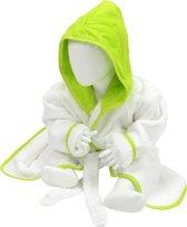 ARTG Babiezz® Baby Badjas met Capuchon Wit - Limoen Groen  - Maat  80-92