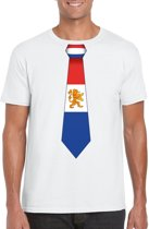 Wit t-shirt met Hollandse vlag stropdas heren -  Nederland supporter M