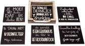 Originele Grappige Onderzetters Zwarte Set 9, 6 stuks met een houder van FSC-gecertificeerd hout